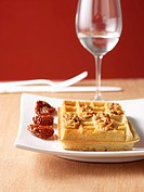 Parmesan waffles with tomato pesto