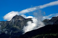 mountains with clouds and blue sky