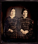 Two Women in Identical Plaid Dresses, Portrait, Daguerreotype, Circa 1850's