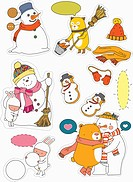 sticker template featuring animals and snowman