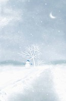 illustration landscape of a land with snow