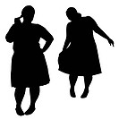 Silhouettes of fat women
