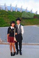 Singapore, Gardens by the Bay, park, Asian, teen, boy, girl, fashionable, fashion, posing, couple,