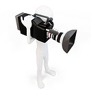 3d man cameraman with video camera