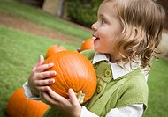 Cute Young Child Girl Enjoying the Pumpkin Patch