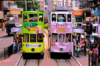 Hong Kong- Doble deck tramways at Wan Chai, Hong Kong.
