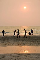 Asia, Thailand, Koh Chang, Soccer on white sand beach
