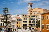 Spain, Menorca, View of Placa Espanya and Church of Santa Maria in background