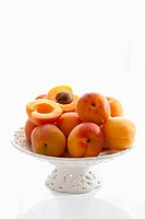 Apricots on cakestand, close up