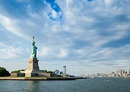 Statue of Liberty, Liberty Island, skyline of Manhatten, New York City, New York, United States of America, PublicGround