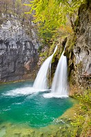 Croatia - Plitvice Lakes National Park, waterfall between lakes, central Croatia, UNESCO