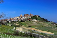 The town of La Morra and vineyards. Piedmont, Italy