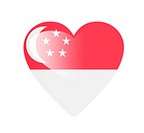 Singapore 3D heart shaped flag