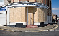 The Seview cafe boarded up, Walton on the Naze, Essex, England