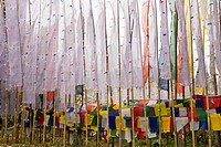 Buddhist Prayer Flags At Tashiding Monastery;West Sikkim India
