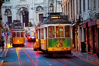 Trams in Lisbon at sunset (Line 28) (Portugal, Europe).