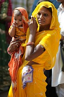 Portrait of indian woman and son