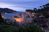 The old town Vila Vella of Tossa de Mar in the evening light, Costa Brava, Comarca La Selva, Province Girona, Catalonia, Spain, Europe