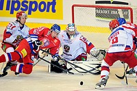 Left to right: Jevgenij Rjasenskij (RUS), Petr Vrana (CZE), goalkeeper Konstantin Barulin (RUS) and Denis Denisov (RUS) during the Euro Hockey Tour ic...