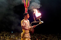 India, Uttar Pradesh, Evening Ganga Aarti With Open Flames At Dashashwamedh Ghat; Varanasi