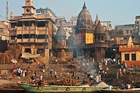 India, Uttar Pradesh, Manikarnika Ghat Cremation Ghat On Banks Of Ganges; Varanasi