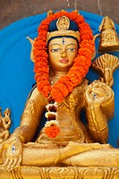 India, Bihar, Statue of White Tara at Mahabodhi Temple; Bodhgaya