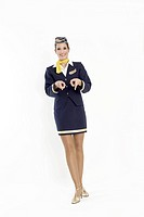 Young Stewardess in Retro clothes of the fifties