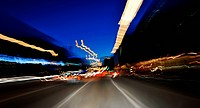 Blurred lights, traffic, lights, dynamic, colorful, Hamburg, Germany, Europe