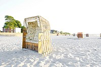 Roofed wicker beach chair on the beach, lifestyle, Niendorf at the Baltic Sea, Schleswig-Holstein, Germany, Europe