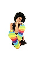 Funky girl with colored Toe Socks striped