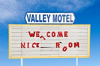 A Very Run Down Motel Sign in Nevada, USA