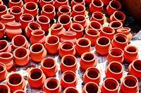 Orange clay pots,Poona, Maharashtra, India.