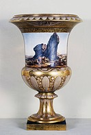 Vase with a scene from Voyage dans la Basse et la Haute Egypte (Voyage in Lower and Upper Egypt), by Dominique Vivant Denon, 1811, decorations by Jacq...