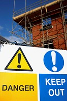 Warning Signs Around Construction Site