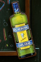 Prague. Czech Republic. Sign advertising the herbal liqueur Becherovka