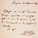 Study certificate given by Giuseppe Verdi to his pupil Emanuele Muzio, 1844.