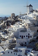 Greece, Santorini, Greek Islands, Oia, Cyclades, Europe, Village of Oia on the steep hillside of Santorini Island on the Aegean Sea.