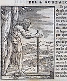 Taino Indian lighting a fire, engraving from Navigations and Travels, by Giovanni Battista Ramusio (1485-1557), Venice, Tommaso Giunti edition, 1556. ...