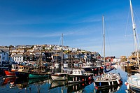 Harbour with fishing boats, Mevagissey, Cornwall, England, United Kingdom