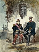 Meeting between Otto von Bismarck (1815-98) and Napoleon III (1808-73) at Donchery, 2nd September 1870, print. Franco-Prussian War, France, 19th centu...