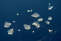 Aerial view of icebergs