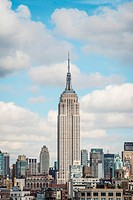 Skyline of New York City prominently featuring the Empire State Building.