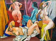 Girls from Palermo, Renato Guttuso, 1940, oil on canvas, national gallery of modern art, Rome, Italy