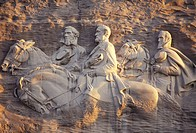Stone Mountain, Stone Mountain Park, Atlanta, Georgia, The Confederate Memorial Carving of President Jefferson Davis, General Thomas Stonewall Jackson...