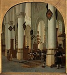 View inside the Saint Bavo church in Haarlem during mass. Vliet, Hendrick Cornelisz. van (1611-1675). Oil on wood. Baroque. 1666. Holland. Museum Boij...