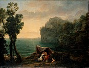 Landscape with Acis and Galatea. Lorrain, Claude (1600-1682). Oil on canvas. Baroque. 1657. France. Dresden State Art Collections. 102,5x136. Landscap...