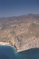 Aerial over the south central coast of Santa Cruz Island, Channel Islands, California