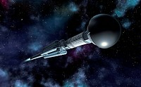 Antimatter spaceship. Computer artwork of an antimatter propelled spacecraft in space. Antimatter propulsion is a theoretical future spaceship technol...