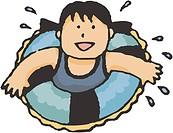 girl swimming with inner tube