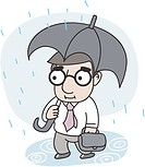 businessman going to work in the rainy day
